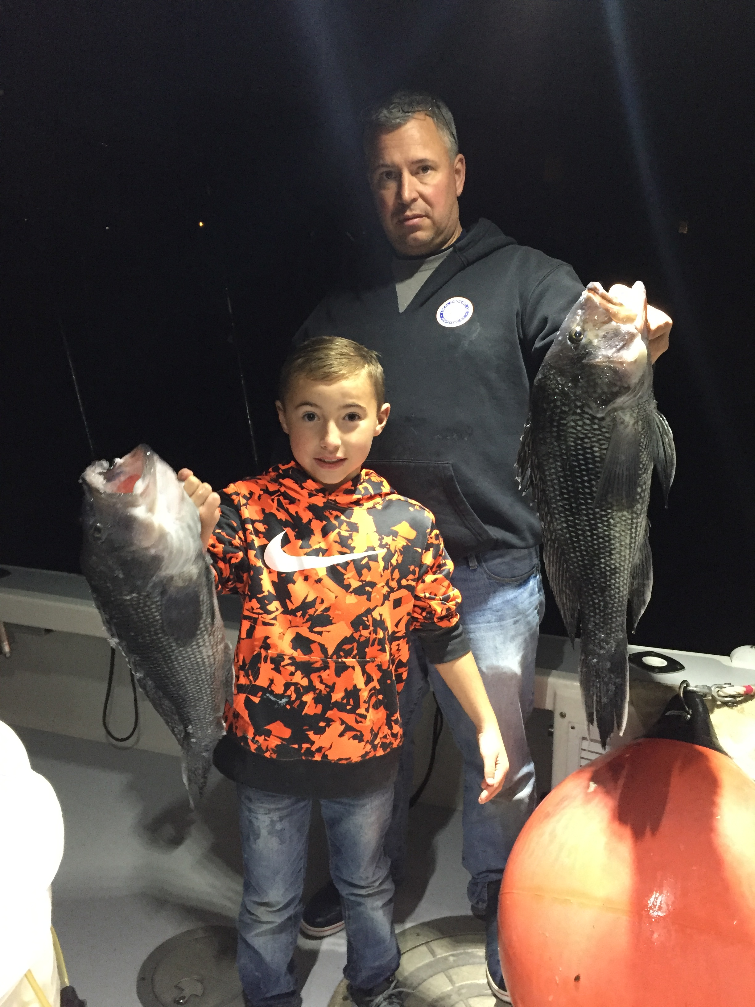 5 lb and 5lb 15 oz seabass Luke Myer age 8 and Eric Myer